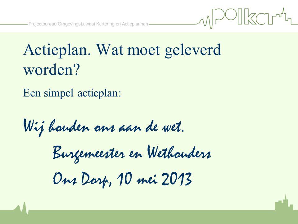 Actieplan. Wat moet geleverd worden? Een simpel actieplan: Wij houden ons aan de wet. Burgemeester en Wethouders Ons Dorp, 10 mei 2013
