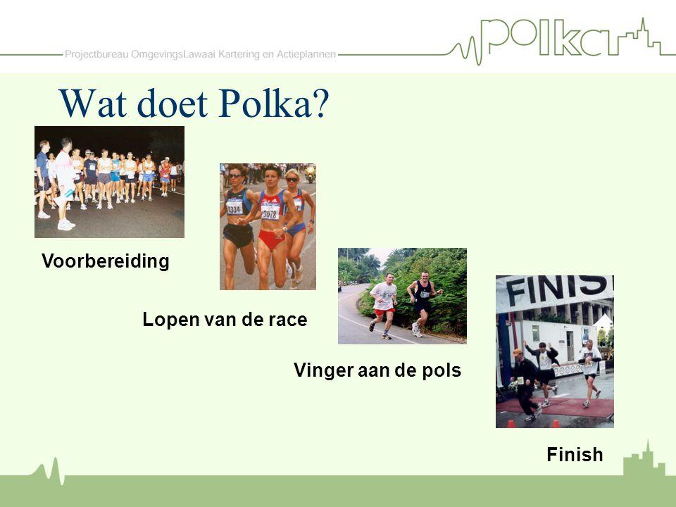Finish Vinger aan de pols Lopen van de race Voorbereiding Wat doet Polka?