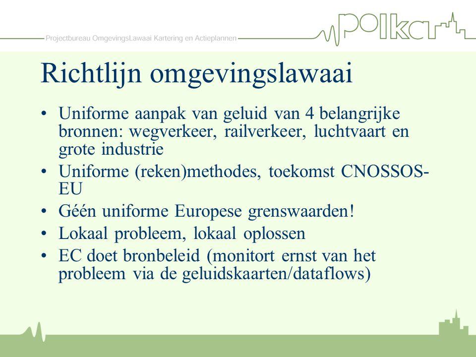 Richtlijn omgevingslawaai (2) Richting EU: verplichting lidstaat –Dataflows op vastgestelde datums In Nederland onderdeel Wet geluidhinder Verplichting voor actoren : –Gemeenten binnen aangewezen agglomeraties met meer dan 100.000 inwoners –Bronbeheerders: ProRail, RWS, I&M, Provincies