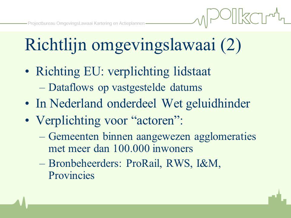 Richtlijn omgevingslawaai (2) Richting EU: verplichting lidstaat –Dataflows op vastgestelde datums In Nederland onderdeel Wet geluidhinder Verplichtin