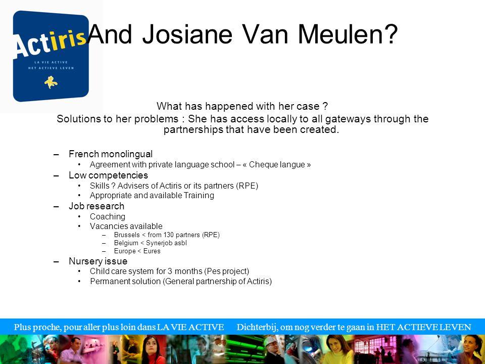 Plus proche, pour aller plus loin dans LA VIE ACTIVE Dichterbij, om nog verder te gaan in HET ACTIEVE LEVEN And Josiane Van Meulen.