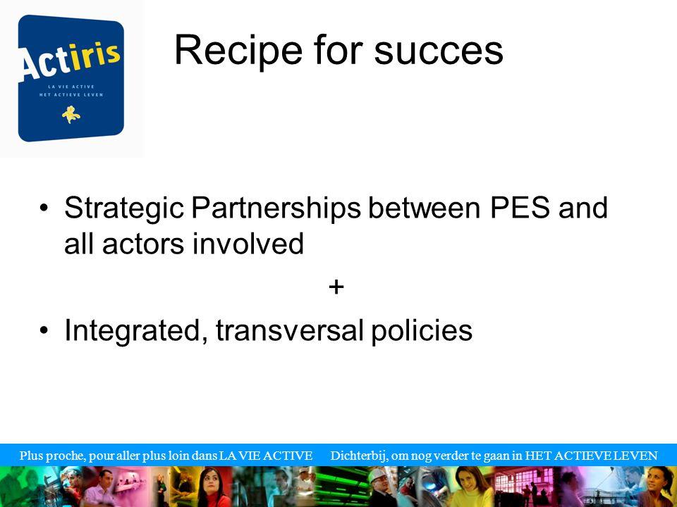 Plus proche, pour aller plus loin dans LA VIE ACTIVE Dichterbij, om nog verder te gaan in HET ACTIEVE LEVEN Recipe for succes Strategic Partnerships between PES and all actors involved + Integrated, transversal policies