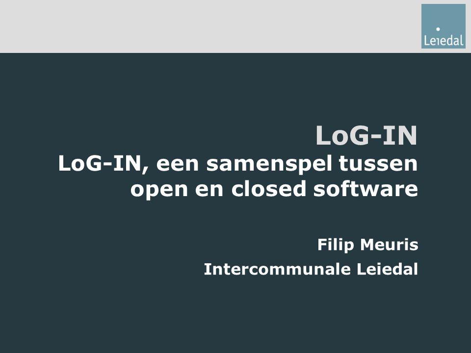 Structuur presentatie 1.GIS en open source in de regio Kortrijk 2.LoG-IN als casus 3.Op zoek naar een klant.