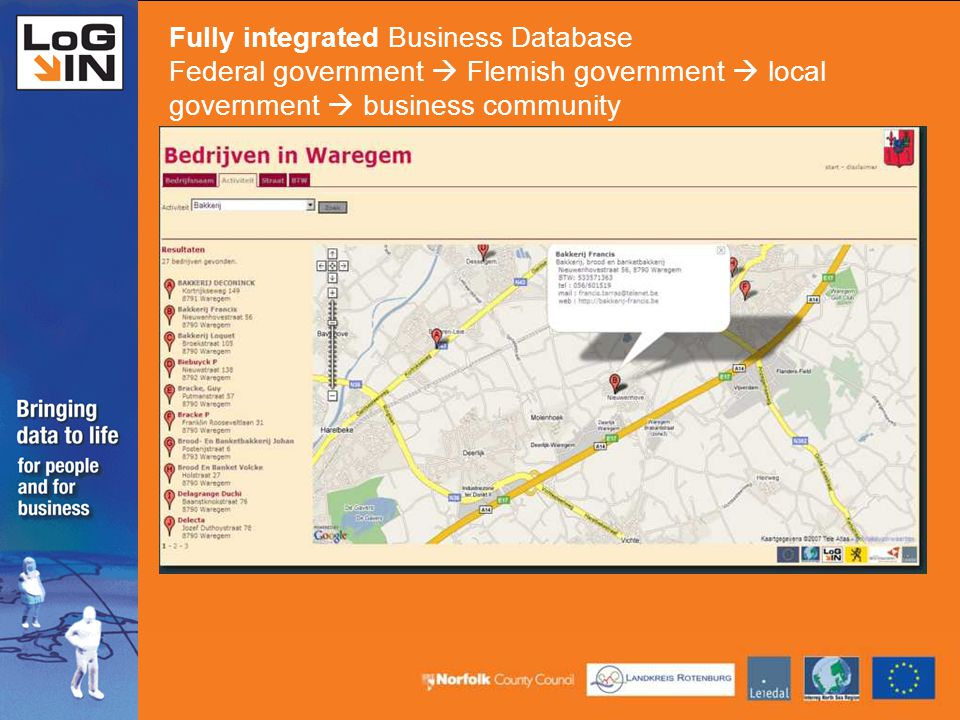Fully integrated Business Database Federal government  Flemish government  local government  business community