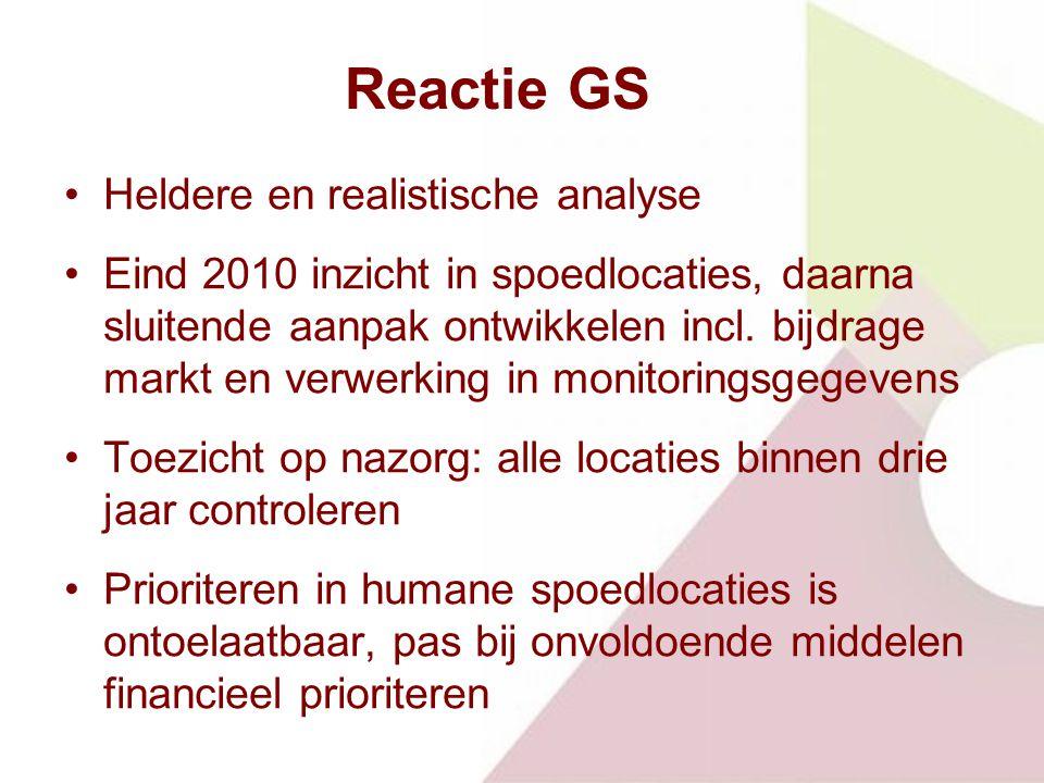 Reactie GS Heldere en realistische analyse Eind 2010 inzicht in spoedlocaties, daarna sluitende aanpak ontwikkelen incl.