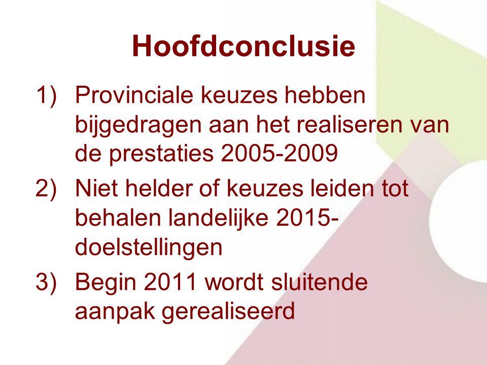 Hoofdconclusie 1)Provinciale keuzes hebben bijgedragen aan het realiseren van de prestaties 2005-2009 2)Niet helder of keuzes leiden tot behalen landelijke 2015- doelstellingen 3)Begin 2011 wordt sluitende aanpak gerealiseerd
