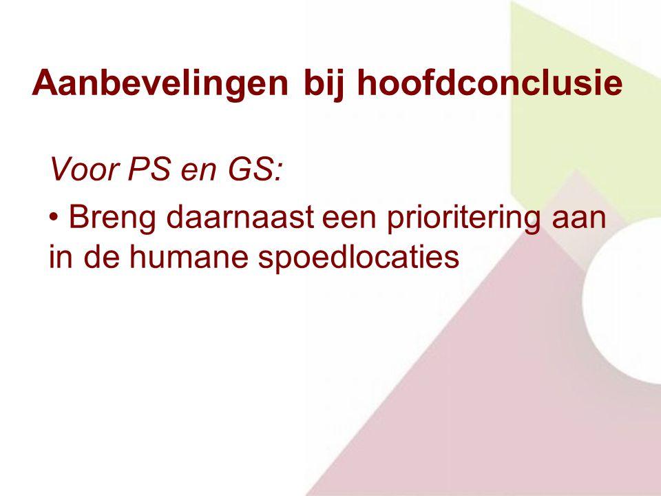 Aanbevelingen bij hoofdconclusie Voor PS en GS: Breng daarnaast een prioritering aan in de humane spoedlocaties