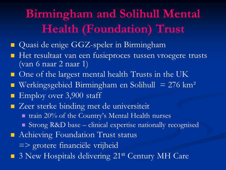 Birmingham and Solihull Mental Health (Foundation) Trust Quasi de enige GGZ-speler in Birmingham Het resultaat van een fusieproces tussen vroegere tru