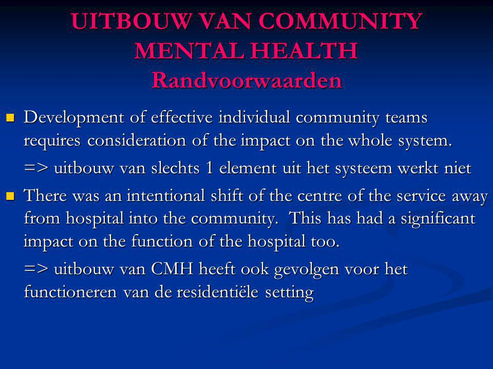 UITBOUW VAN COMMUNITY MENTAL HEALTH Randvoorwaarden Development of effective individual community teams requires consideration of the impact on the wh