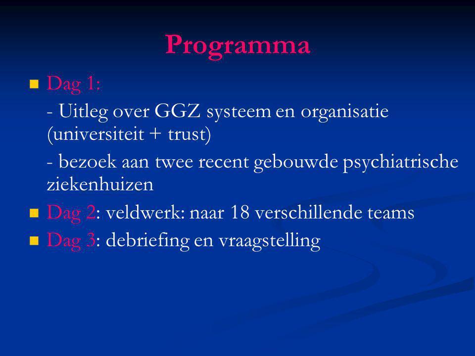 Programma Dag 1: - Uitleg over GGZ systeem en organisatie (universiteit + trust) - bezoek aan twee recent gebouwde psychiatrische ziekenhuizen Dag 2: