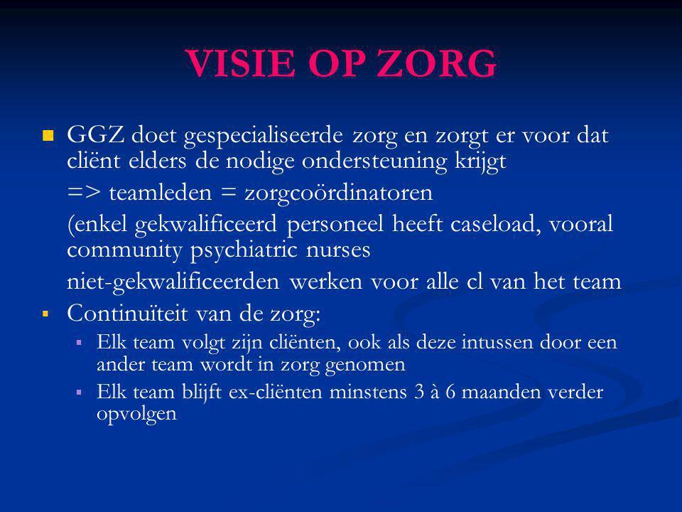 GGZ doet gespecialiseerde zorg en zorgt er voor dat cliënt elders de nodige ondersteuning krijgt => teamleden = zorgcoördinatoren (enkel gekwalificeer