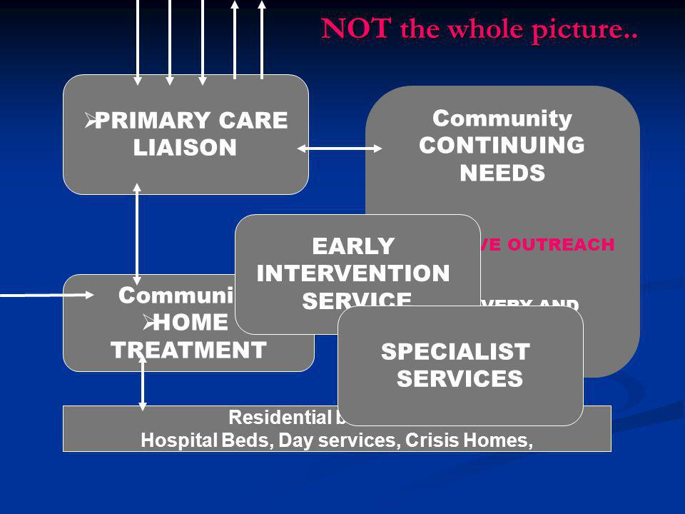 PRIMARY CARE LIAISON Community CONTINUING NEEDS  ASSERTIVE OUTREACH  RECOVERY AND REHABILITATION Community  HOME TREATMENT Residential based care