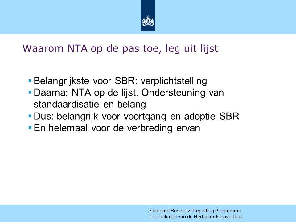 13 Waarom NTA op de pas toe, leg uit lijst  Belangrijkste voor SBR: verplichtstelling  Daarna: NTA op de lijst.