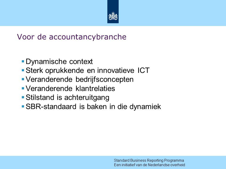 5 Voor de accountancybranche  Dynamische context  Sterk oprukkende en innovatieve ICT  Veranderende bedrijfsconcepten  Veranderende klantrelaties  Stilstand is achteruitgang  SBR-standaard is baken in die dynamiek Standard Business Reporting Programma Een initiatief van de Nederlandse overheid