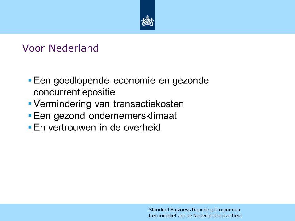 8 Voor Nederland  Een goedlopende economie en gezonde concurrentiepositie  Vermindering van transactiekosten  Een gezond ondernemersklimaat  En vertrouwen in de overheid Standard Business Reporting Programma Een initiatief van de Nederlandse overheid