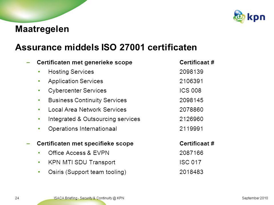 September 2010ISACA Briefing - Security & Continuity @ KPN24 Maatregelen Assurance middels ISO 27001 certificaten –Certificaten met generieke scopeCer