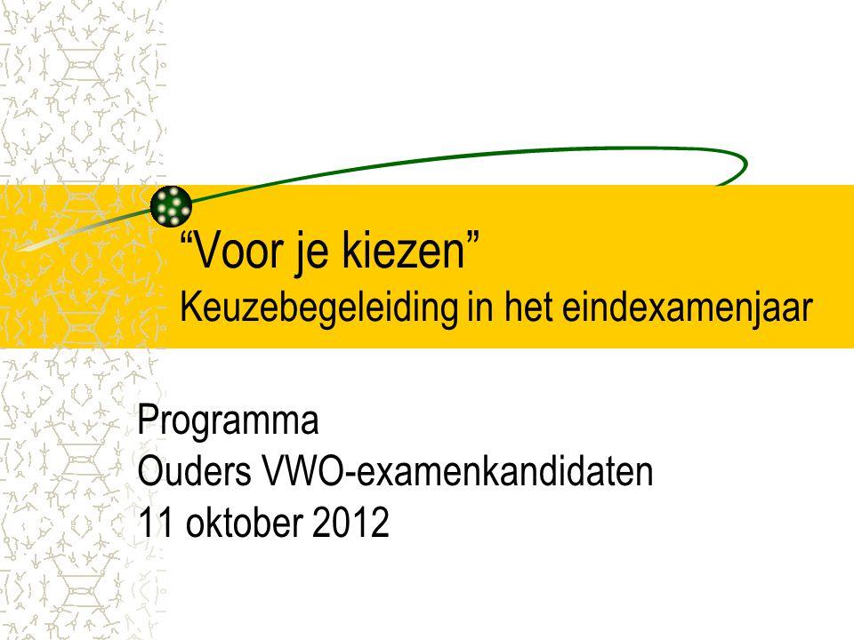 """""""Voor je kiezen"""" Keuzebegeleiding in het eindexamenjaar Programma Ouders VWO-examenkandidaten 11 oktober 2012"""