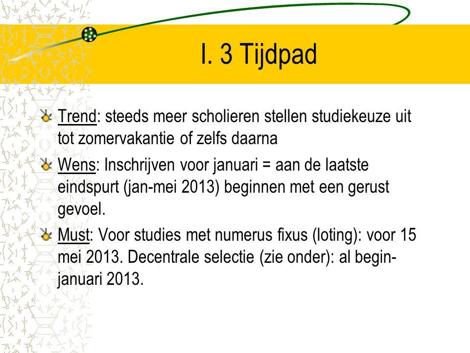I. 3 Tijdpad Trend: steeds meer scholieren stellen studiekeuze uit tot zomervakantie of zelfs daarna Wens: Inschrijven voor januari = aan de laatste e