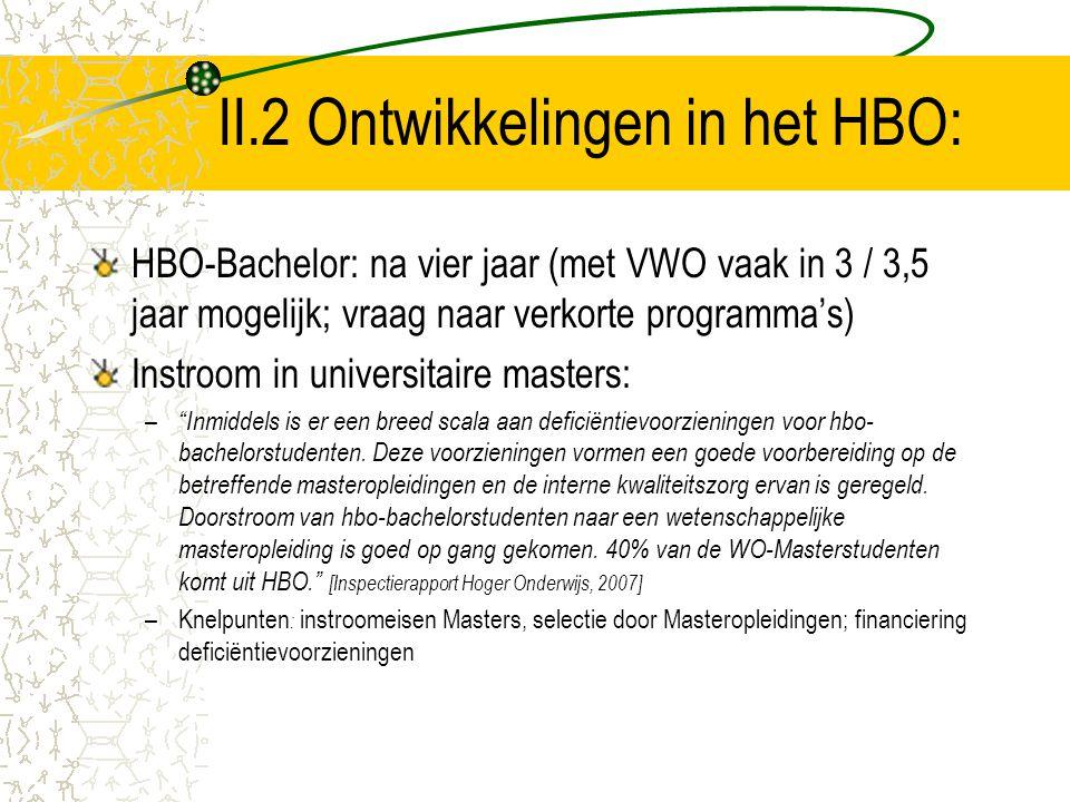 II.2 Ontwikkelingen in het HBO: HBO-Bachelor: na vier jaar (met VWO vaak in 3 / 3,5 jaar mogelijk; vraag naar verkorte programma's) Instroom in univer
