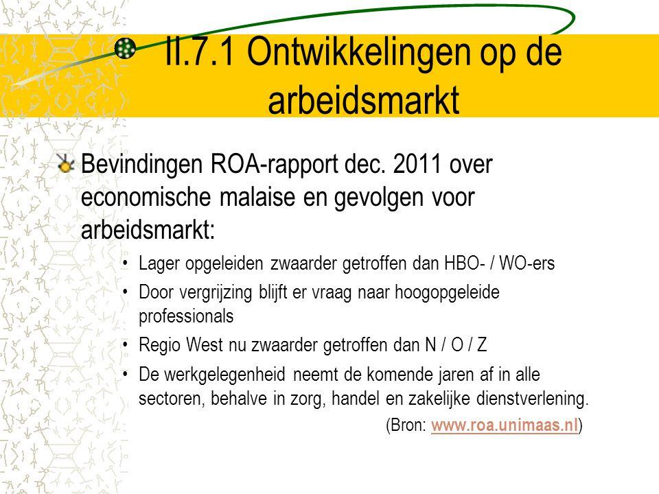 II.7.1 Ontwikkelingen op de arbeidsmarkt Bevindingen ROA-rapport dec. 2011 over economische malaise en gevolgen voor arbeidsmarkt: Lager opgeleiden zw