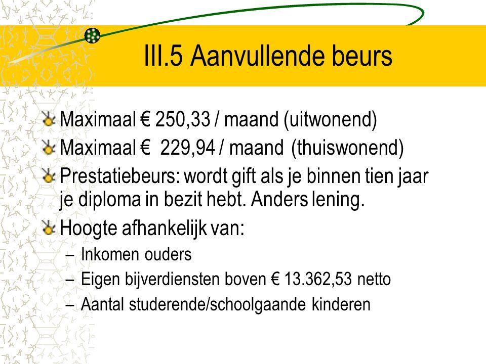 III.5 Aanvullende beurs Maximaal € 250,33 / maand (uitwonend) Maximaal € 229,94 / maand (thuiswonend) Prestatiebeurs: wordt gift als je binnen tien ja