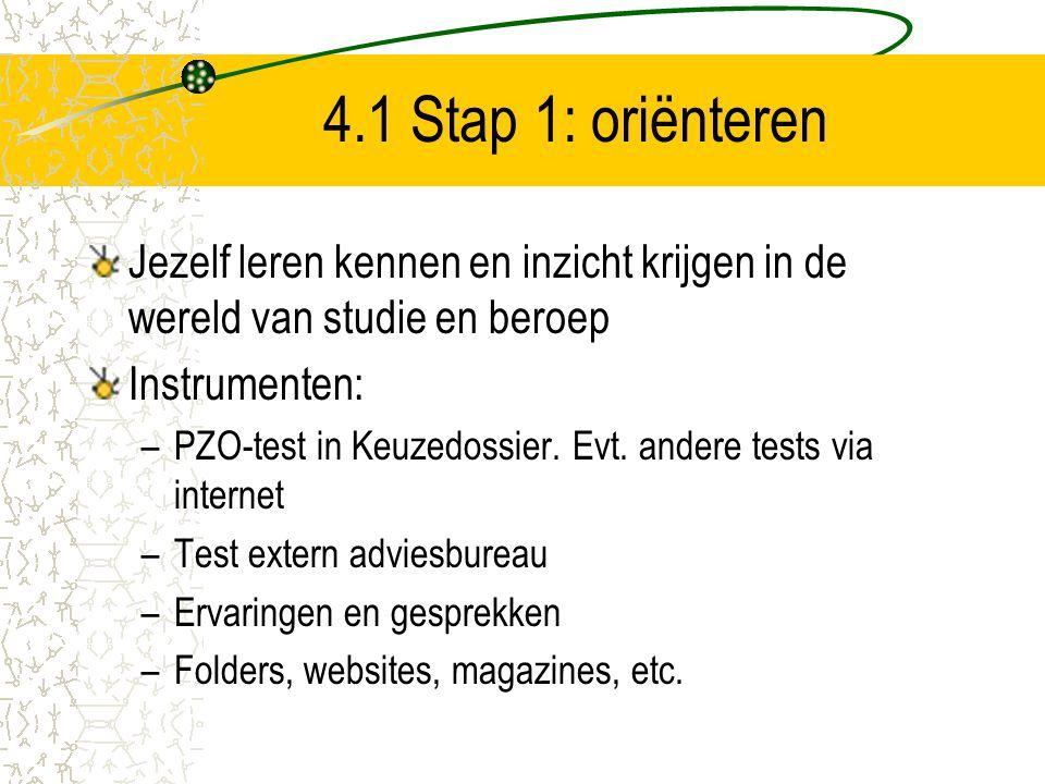 4.1 Stap 1: oriënteren Jezelf leren kennen en inzicht krijgen in de wereld van studie en beroep Instrumenten: –PZO-test in Keuzedossier. Evt. andere t