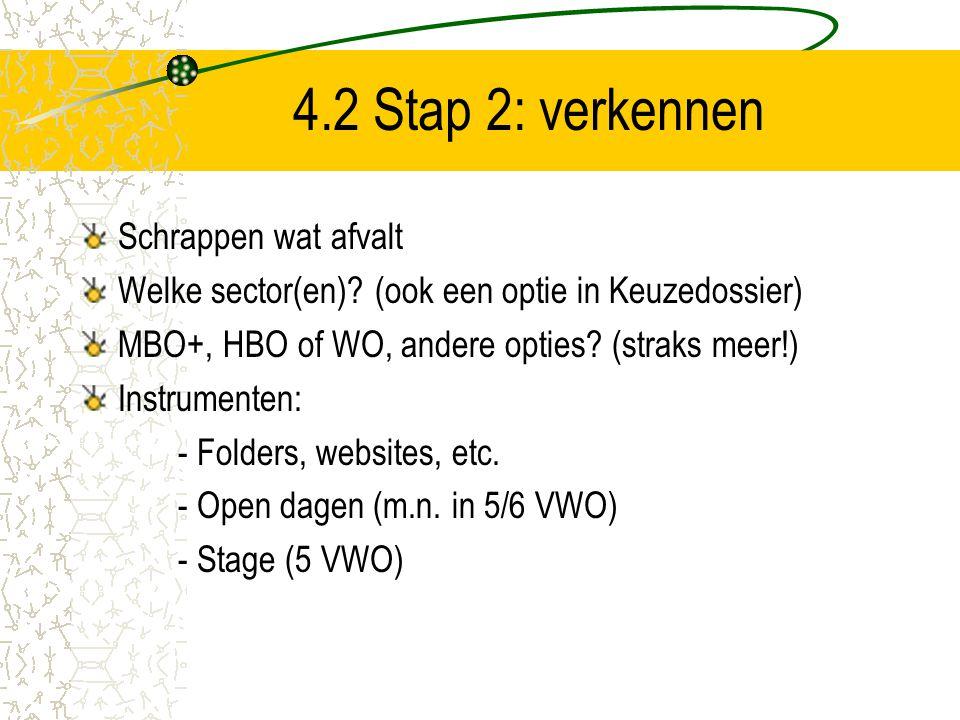 4.2 Stap 2: verkennen Schrappen wat afvalt Welke sector(en)? (ook een optie in Keuzedossier) MBO+, HBO of WO, andere opties? (straks meer!) Instrument