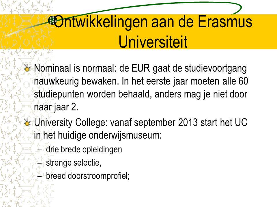 Ontwikkelingen aan de Erasmus Universiteit Nominaal is normaal: de EUR gaat de studievoortgang nauwkeurig bewaken. In het eerste jaar moeten alle 60 s