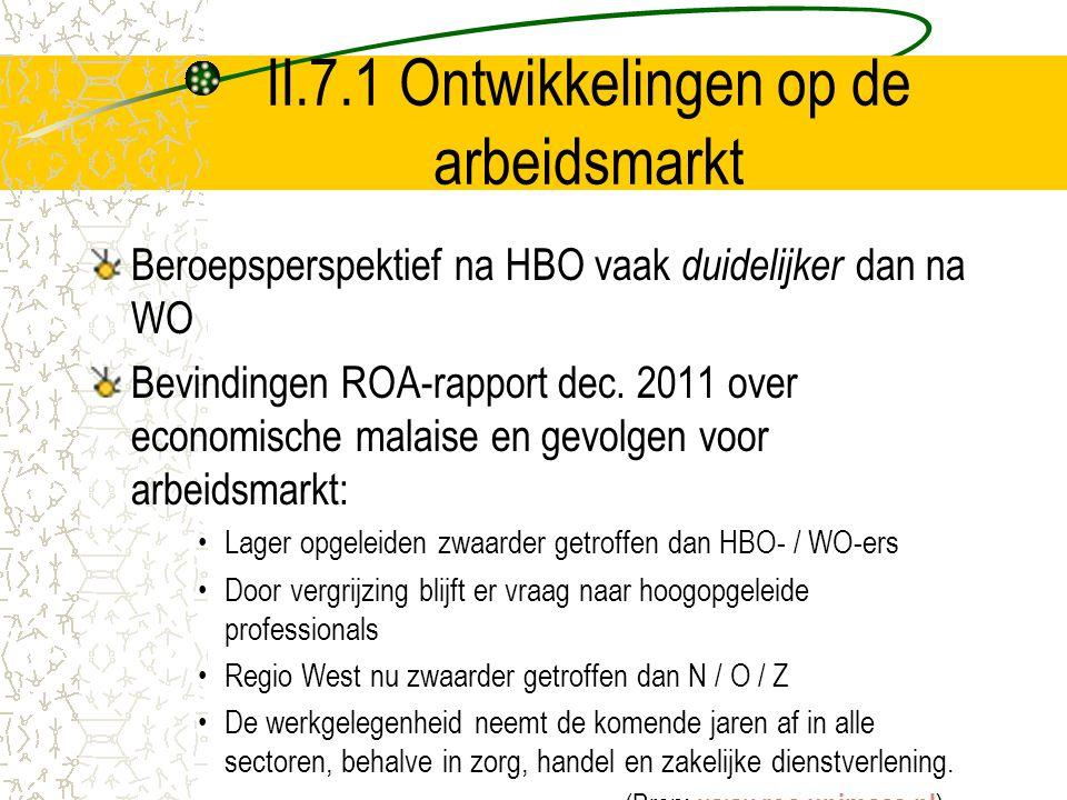II.7.1 Ontwikkelingen op de arbeidsmarkt Beroepsperspektief na HBO vaak duidelijker dan na WO Bevindingen ROA-rapport dec. 2011 over economische malai
