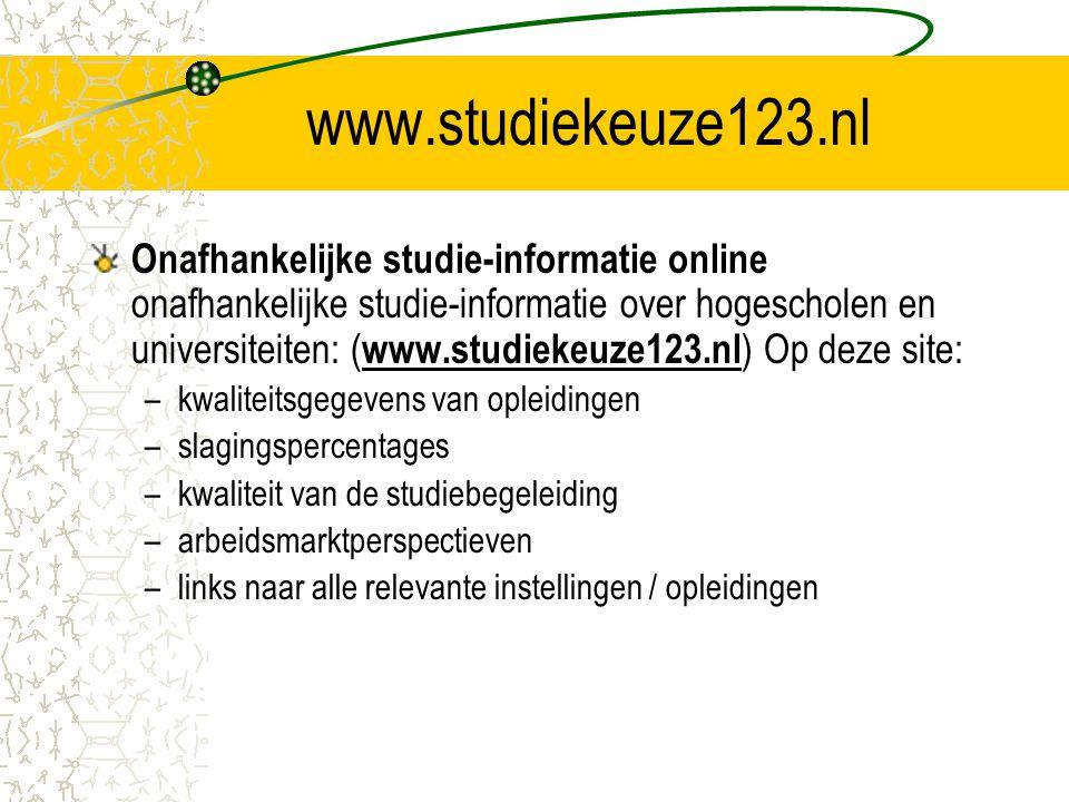 www.studiekeuze123.nl Onafhankelijke studie-informatie online onafhankelijke studie-informatie over hogescholen en universiteiten: ( www.studiekeuze12