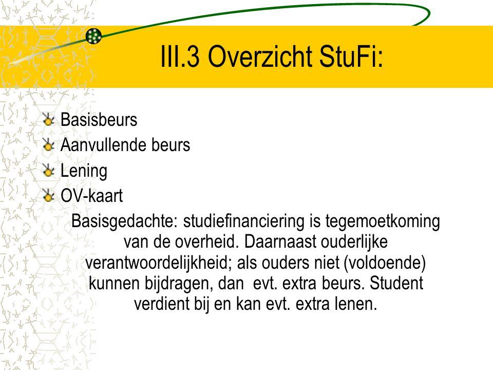 III.3 Overzicht StuFi: Basisbeurs Aanvullende beurs Lening OV-kaart Basisgedachte: studiefinanciering is tegemoetkoming van de overheid. Daarnaast oud