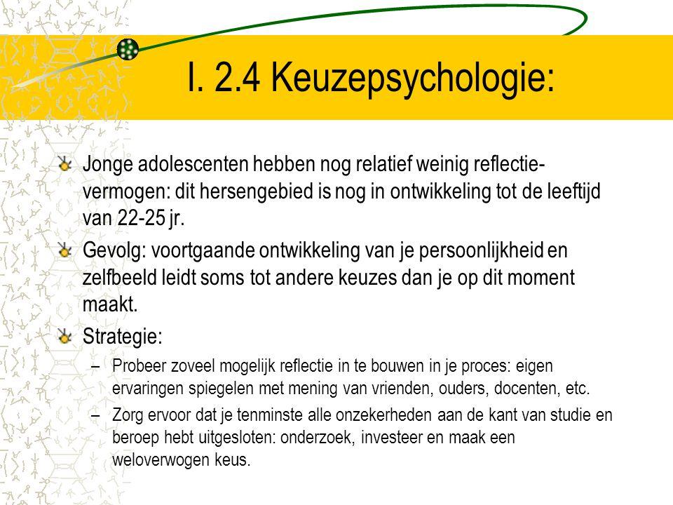I. 2.4 Keuzepsychologie: Jonge adolescenten hebben nog relatief weinig reflectie- vermogen: dit hersengebied is nog in ontwikkeling tot de leeftijd va