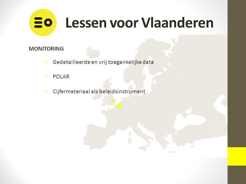 Lessen voor Vlaanderen MONITORING Gedetailleerde en vrij toegankelijke data POLAR Cijfermateriaal als beleidsinstrument