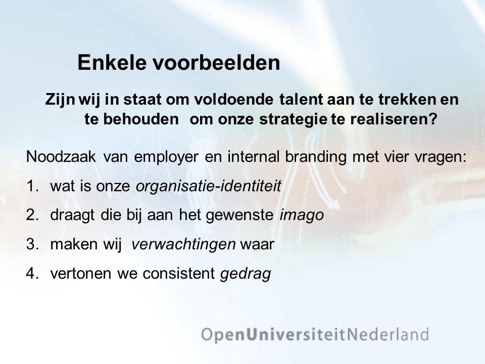 Zijn wij in staat om voldoende talent aan te trekken en te behouden om onze strategie te realiseren? Enkele voorbeelden Noodzaak van employer en inter
