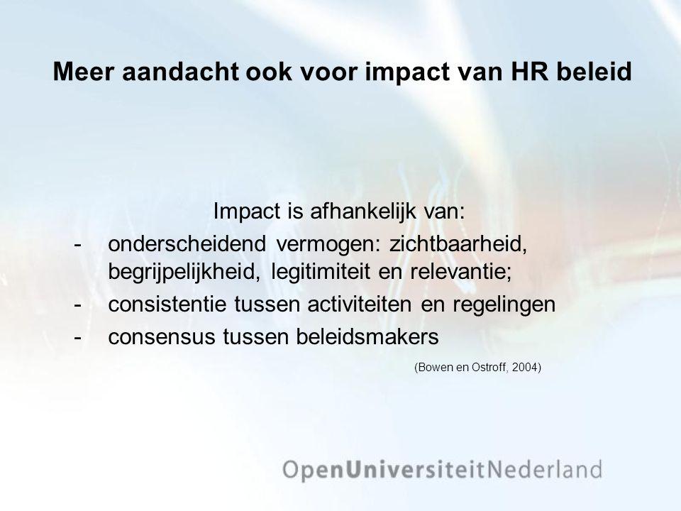 Meer aandacht ook voor impact van HR beleid Impact is afhankelijk van: onderscheidend vermogen: zichtbaarheid, begrijpelijkheid, legitimiteit en rele