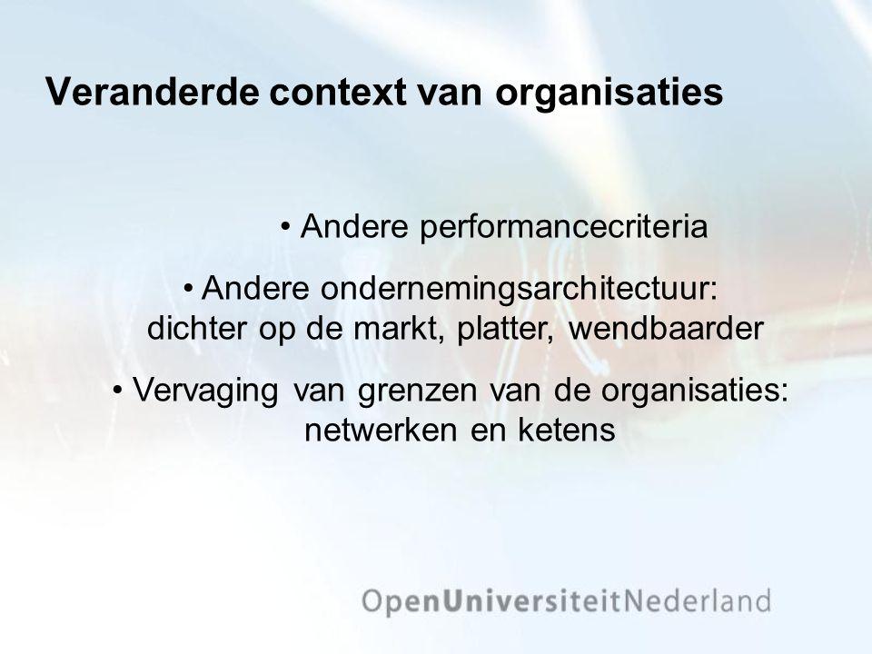 Veranderde context van organisaties Andere performancecriteria Andere ondernemingsarchitectuur: dichter op de markt, platter, wendbaarder Vervaging va