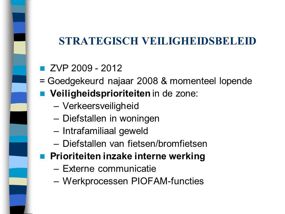 STRATEGISCH VEILIGHEIDSBELEID ZVP 2009 - 2012 = Goedgekeurd najaar 2008 & momenteel lopende Veiligheidsprioriteiten in de zone: –Verkeersveiligheid –D