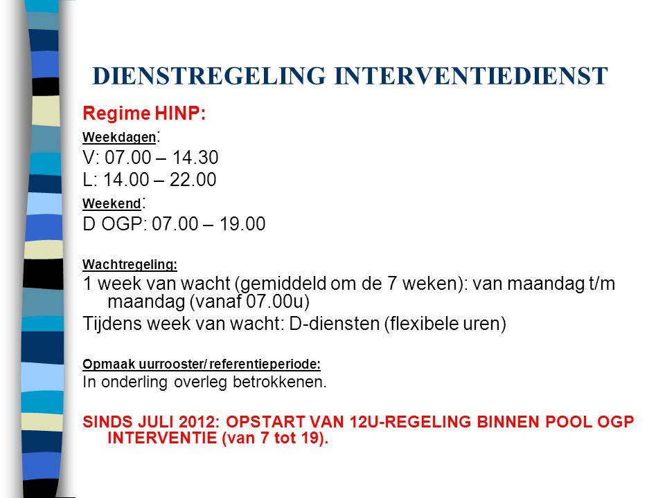 DIENSTREGELING INTERVENTIEDIENST Regime HINP: Weekdagen : V: 07.00 – 14.30 L: 14.00 – 22.00 Weekend : D OGP: 07.00 – 19.00 Wachtregeling: 1 week van w