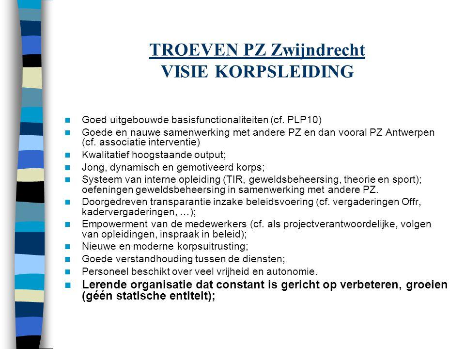 TROEVEN PZ Zwijndrecht VISIE KORPSLEIDING Goed uitgebouwde basisfunctionaliteiten (cf. PLP10) Goede en nauwe samenwerking met andere PZ en dan vooral