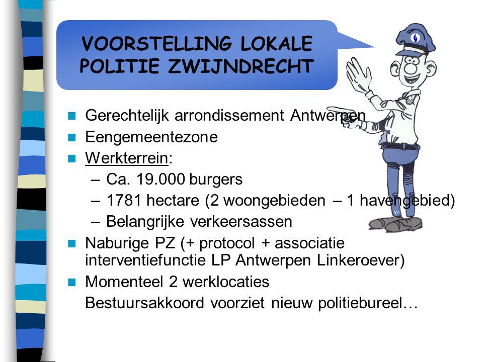 VOORSTELLING LOKALE POLITIE ZWIJNDRECHT Gerechtelijk arrondissement Antwerpen Eengemeentezone Werkterrein: –Ca. 19.000 burgers –1781 hectare (2 woonge