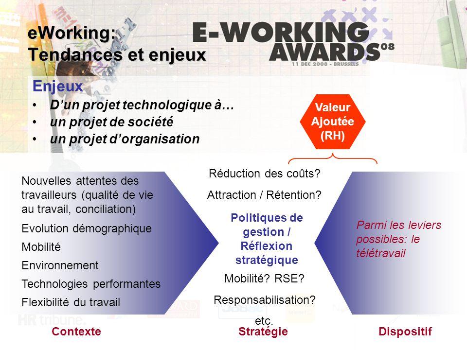 Enjeux D'un projet technologique à… un projet de société un projet d'organisation Nouvelles attentes des travailleurs (qualité de vie au travail, conc
