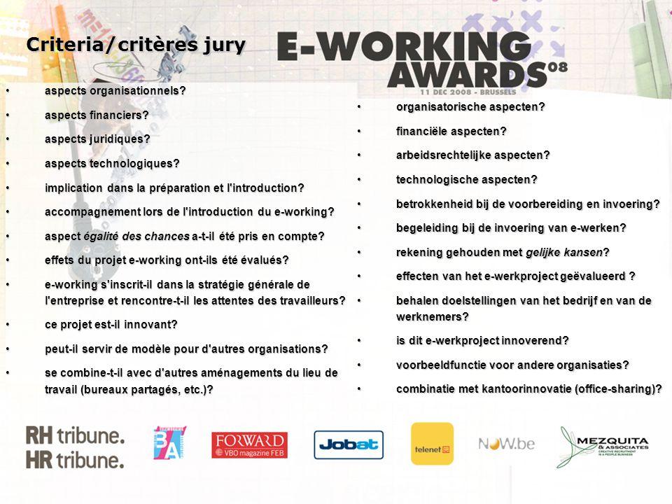 Criteria/critères jury Criteria/critères jury organisatorische aspecten?organisatorische aspecten? financiële aspecten?financiële aspecten? arbeidsrec