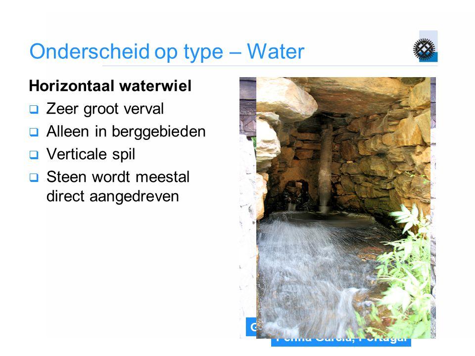 Gifhorn Onderscheid op type – Water Horizontaal waterwiel  Zeer groot verval  Alleen in berggebieden  Verticale spil  Steen wordt meestal direct a