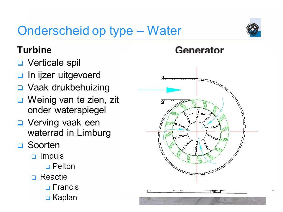 Onderscheid op type – Water Turbine  Verticale spil  In ijzer uitgevoerd  Vaak drukbehuizing  Weinig van te zien, zit onder waterspiegel  Verving