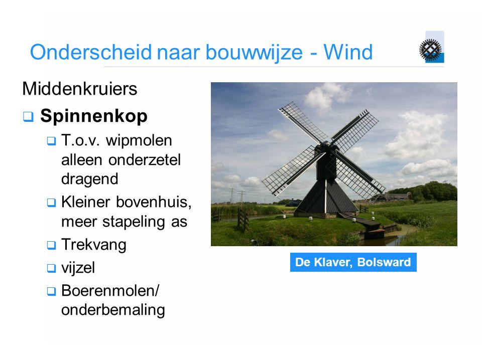 De Klaver, Bolsward Onderscheid naar bouwwijze - Wind Middenkruiers  Spinnenkop  T.o.v. wipmolen alleen onderzetel dragend  Kleiner bovenhuis, meer