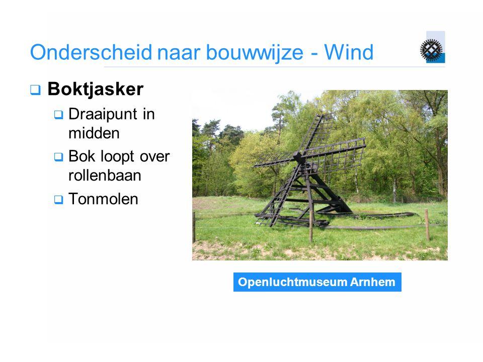 Openluchtmuseum Arnhem Onderscheid naar bouwwijze - Wind  Boktjasker  Draaipunt in midden  Bok loopt over rollenbaan  Tonmolen