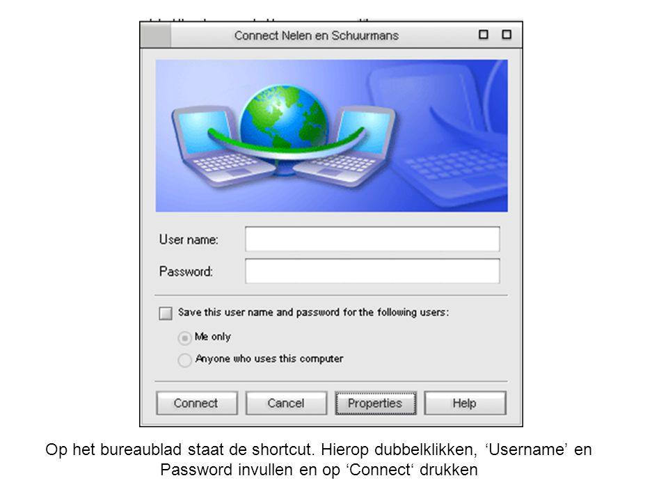 Op het bureaublad staat de shortcut. Hierop dubbelklikken, 'Username' en Password invullen en op 'Connect' drukken