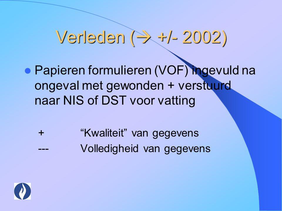 """Verleden (  +/- 2002) Papieren formulieren (VOF) ingevuld na ongeval met gewonden + verstuurd naar NIS of DST voor vatting +""""Kwaliteit"""" van gegevens"""