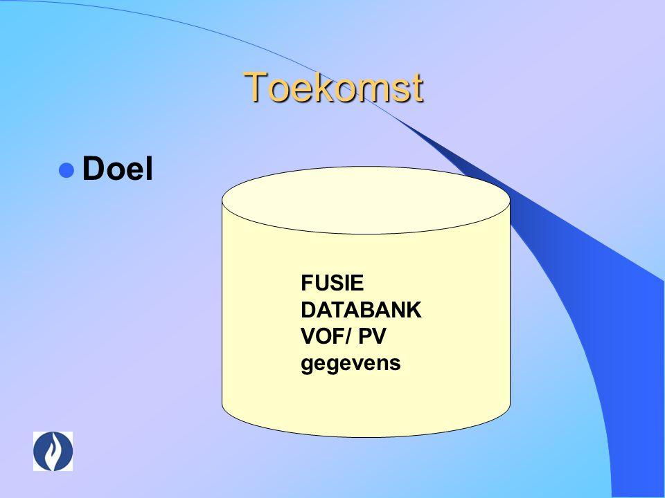 Toekomst Doel FUSIE DATABANK VOF/ PV gegevens