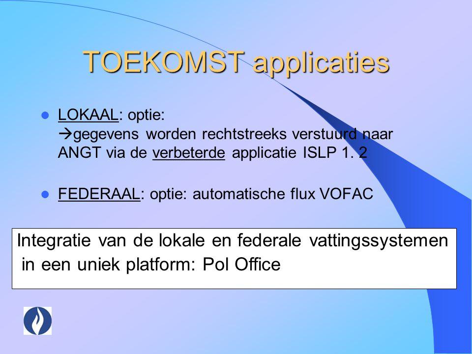 TOEKOMST applicaties LOKAAL: optie:  gegevens worden rechtstreeks verstuurd naar ANGT via de verbeterde applicatie ISLP 1. 2 FEDERAAL: optie: automat